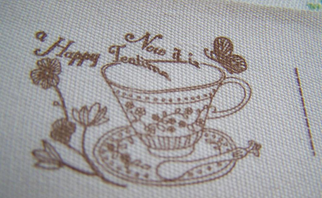 Accessories - Brown Cotton Ribbon Home Made Tea Set Bowl Pattern Print Label String Set Of 5.46 Yards (5 Meters)  A2627
