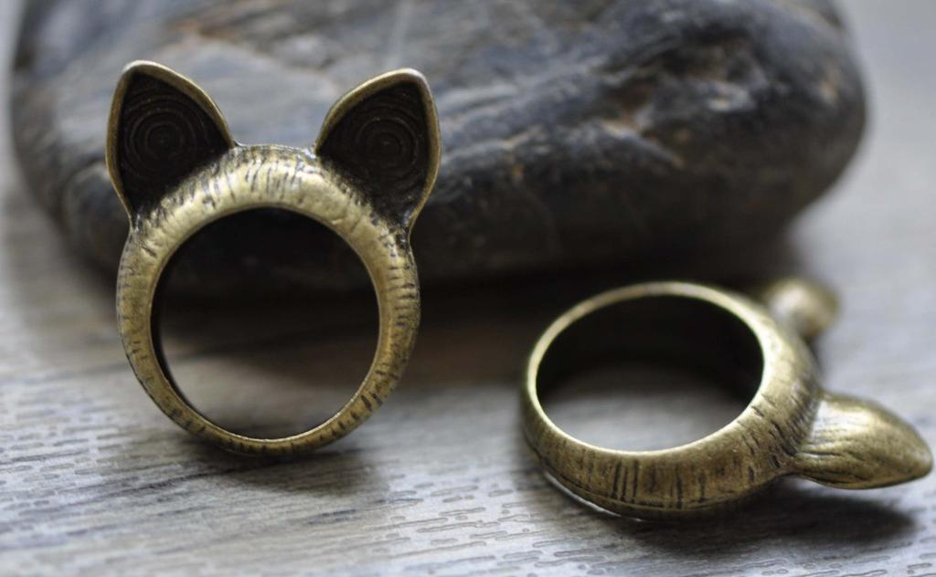 Accessories - Cat Ear Ring Pendants Bronze Charms Set Of 6 Pcs A7774
