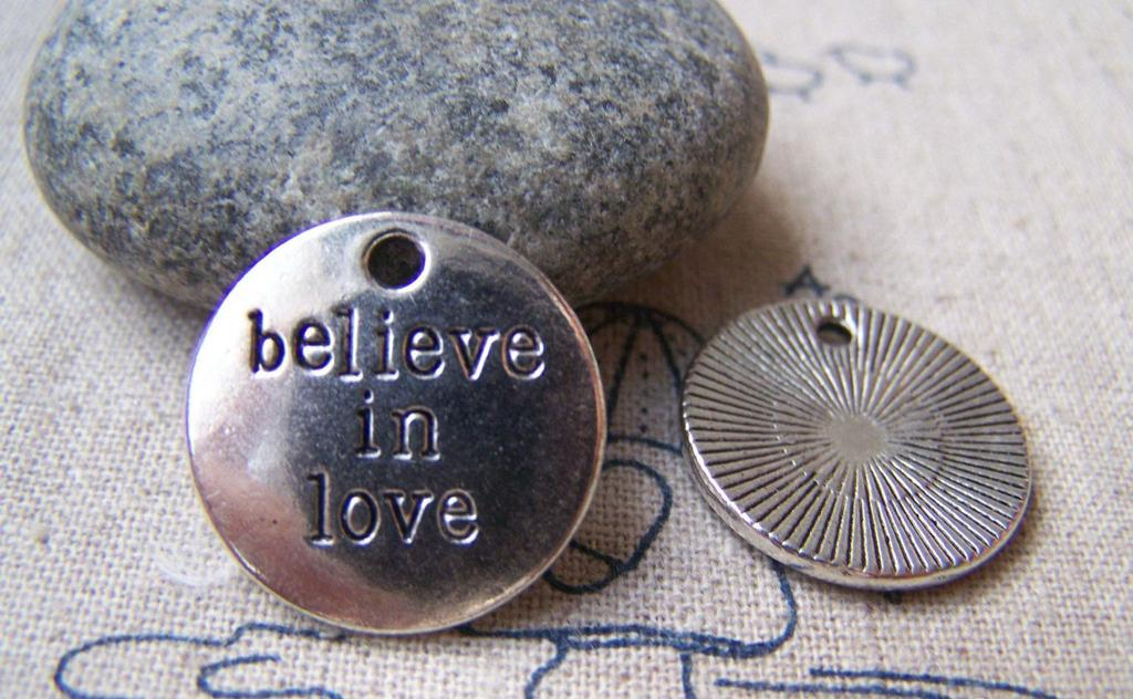 Accessories - Charms With Sayings Antique Silver Round Pendants  20mm  Set Of 10 Pcs A1330