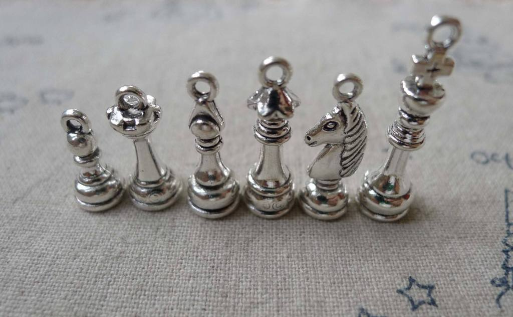Accessories - Chess Set Pendant Antique Silver Charms King Queen Bishop Knight Rook Pawn PICK STYLE BELOW
