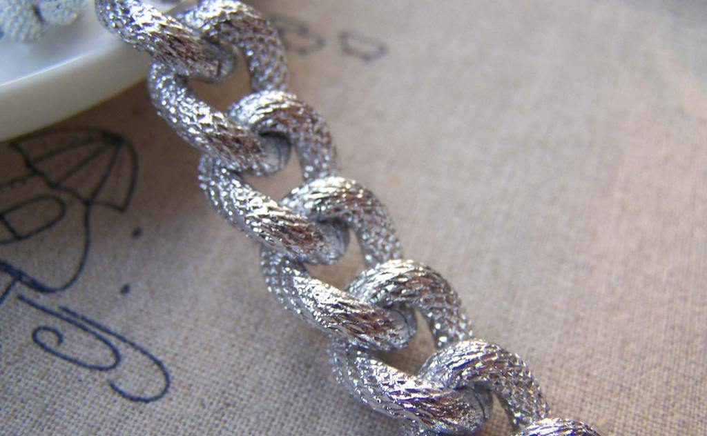 Accessories - Chunky Chain Silver Textured Aluminium Thick Curb Chain Set Of 3.3 Ft (1m)  A2458