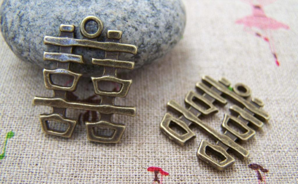 Accessories - Double Happiness Antique Bronze Wedding Decoration Charms 20x22mm Set Of 10 Pcs A3420