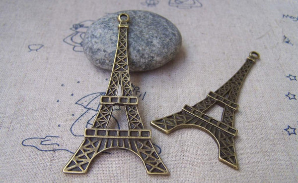 Accessories - Eiffel Tower Pendants Antique Bronze Charms Double Sided 35x68mm Set Of 6 A1669