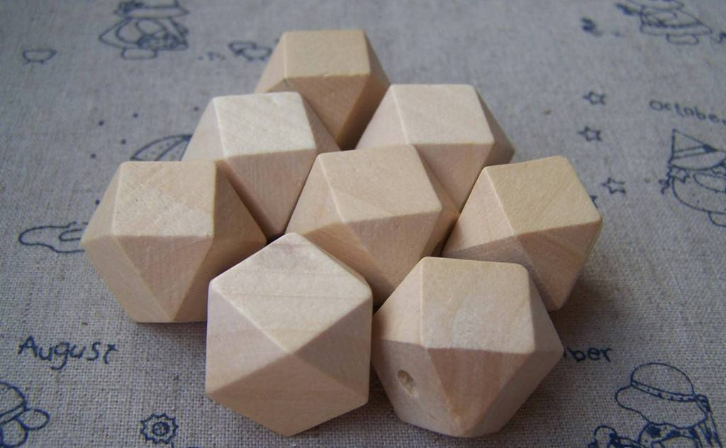 Accessories - Faceted Wood Beads Geometric Figure Solid Beads Findings 21mm Lot Of 20 Pcs A3736
