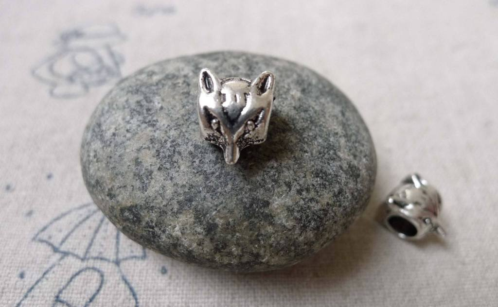 Accessories - Fox Head Beads Antique Silver Spacer Beads 7x9mm Set Of  20 Pcs  A6733