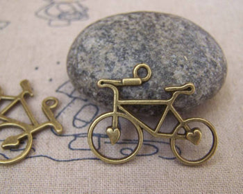 Accessories - Heart Bike Bicycle Charms Antique Bronze Pendants 23x31mm Set Of 10 Pcs A5203
