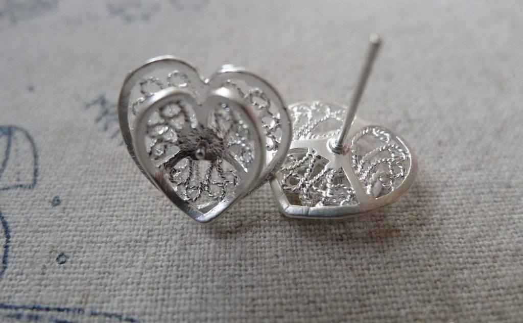 Accessories - Heart Earring Posts Matte Silver Ear Studs Findings 14x15mm Set Of 6  A6715