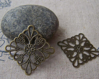 Accessories - Metal Embellishments Filigree Bronze Stampings  25mm Set Of 50 Pcs A5085