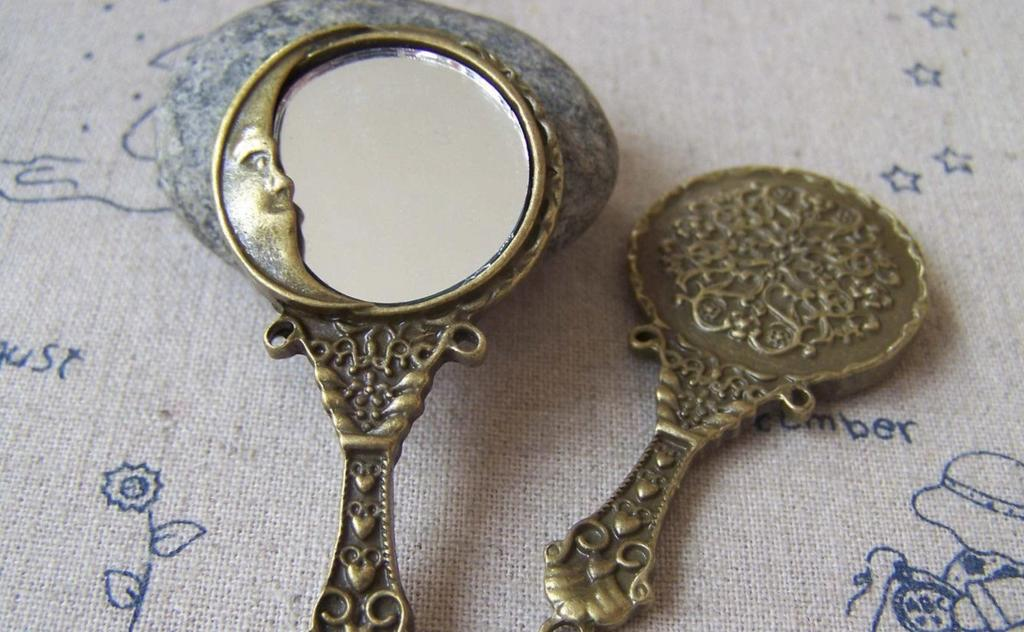 Accessories - Moon Face Glass Mirror Pendant Antique Bronze Ancient Charms 30x62mm Set Of 2 Pcs A4245