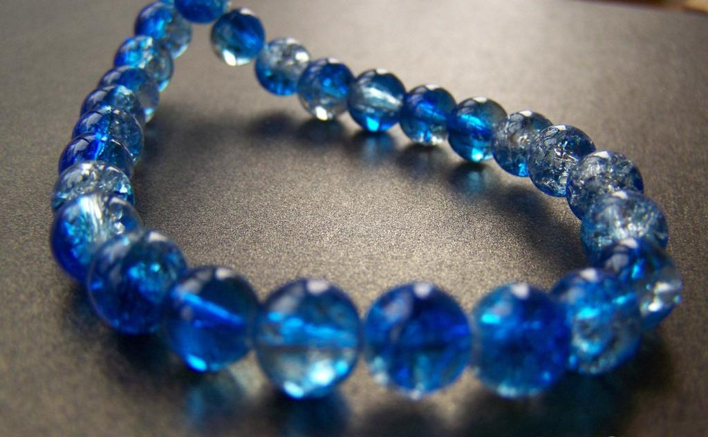 Accessories - One Strand (100 Pcs) Navy Blue Color Crackle Glass Beads  8mm A4801