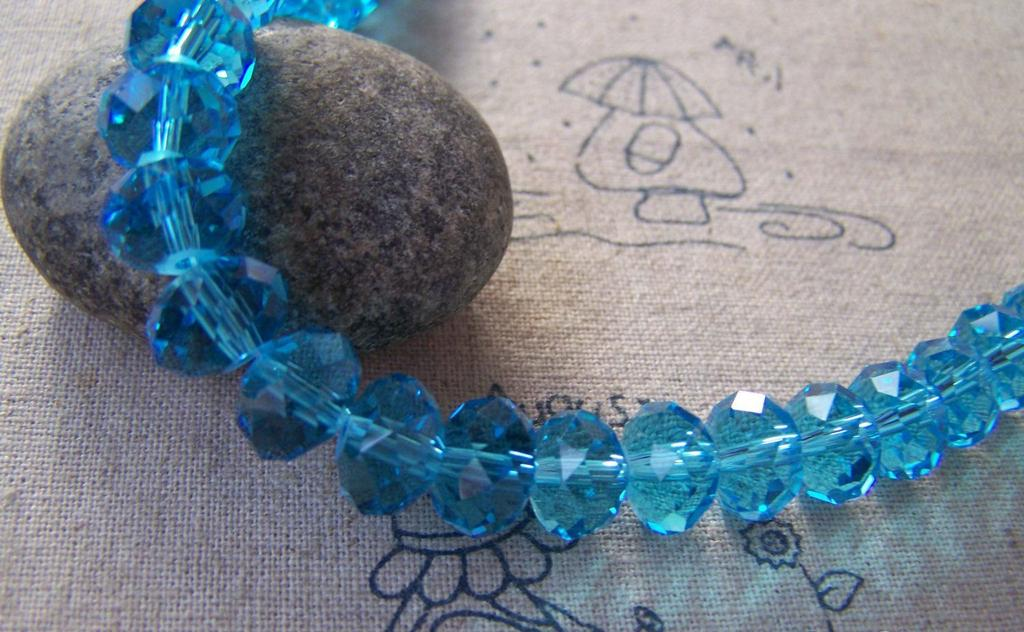 Accessories - One Strand (72 Pcs) Of Aqua Faceted Rondelle Crystal Glass Beads 8x10mm A5303