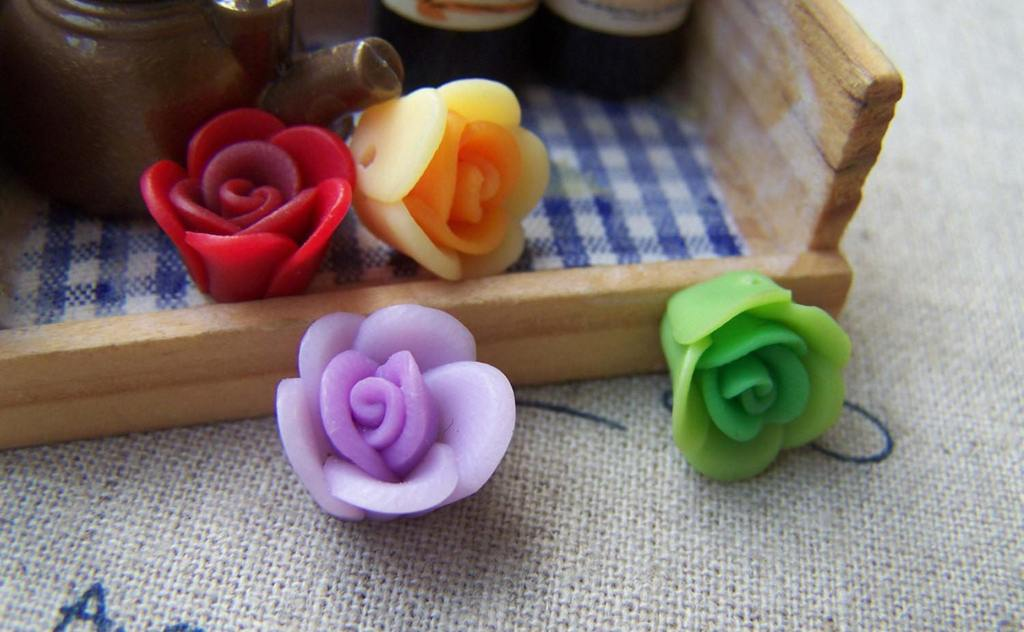Accessories - Polymer Clay Flower Beads Assorted Color  12mm Set Of 10 Pcs A556