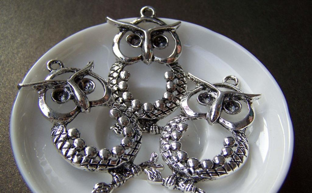 Accessories - Rhinestone Owl Pendant Antique Silver Owl Charms 22x45mm Set Of 4 A1855