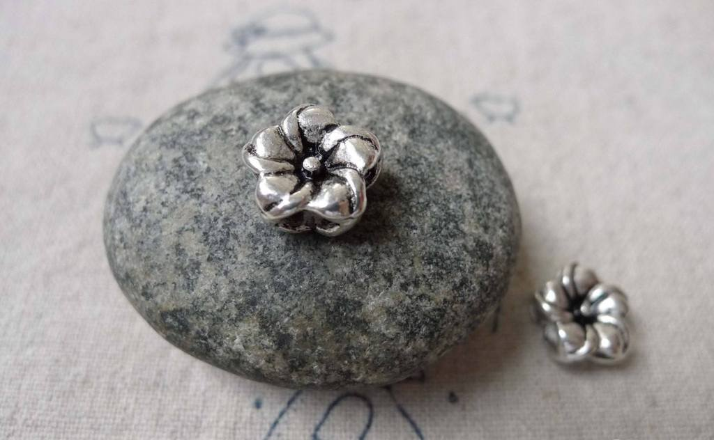 Accessories - Rondelle Flower Beads Antique Silver 12mm Double Sided Set Of 20 Pcs A6814