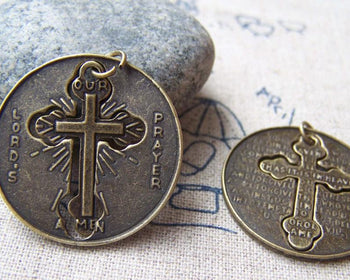 Accessories - Round Cross Pendants Antique Bronze Filigree Cut Out Cross  Charms 27.5mm Set Of 10 Pcs A551