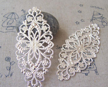 Accessories - Silver Metal Embellishments Filigree Floral Findings 35x80mm Set Of 20 Pcs A5179