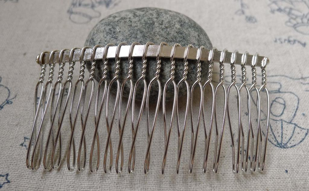 Accessories - Silvery Gray Comb Hair Clips 20 Teeth Metal Wire Hair Pins  38x75mm Set Of 10 Pcs  A6039