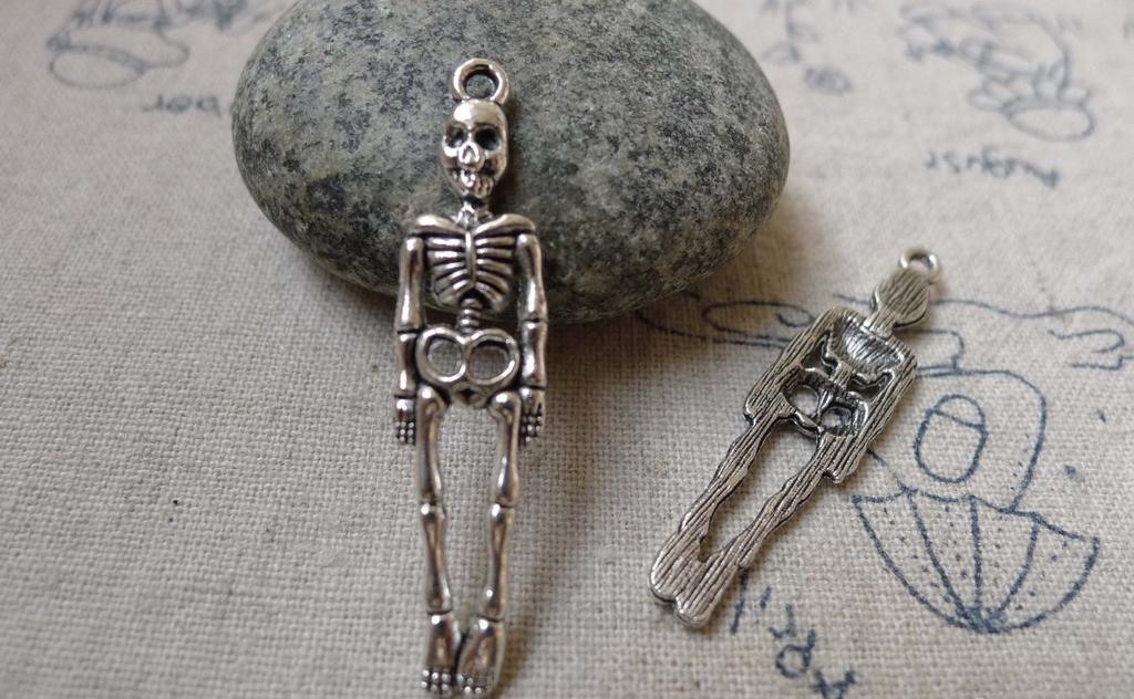 Accessories - Skeleton Charms Antique Silver Halloween Punk Pendant 9x38mm Set Of 10 Pcs A6040