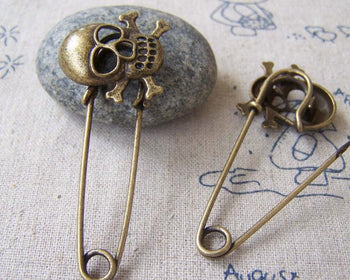 Accessories - Skull Shawl Pin Kilt Pin Antique Bronze Safety Pins Broochs 19x52mm Set Of 4 Pcs A579