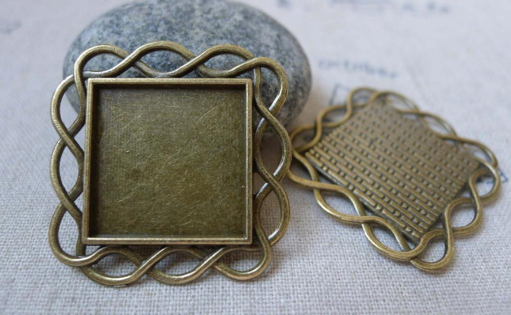 Accessories - Square Pendant Tray Antique Bronze Base Setting Bezel Match 20mm Cameo Set Of 10 Pcs A5921
