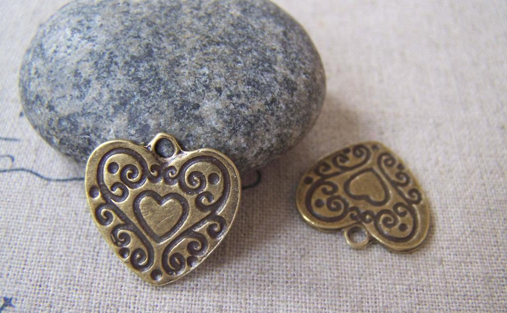 Accessories - Swirly Heart Antique Bronze Charms Flat Pendants 19x19mm Set Of 20 Pcs A3710