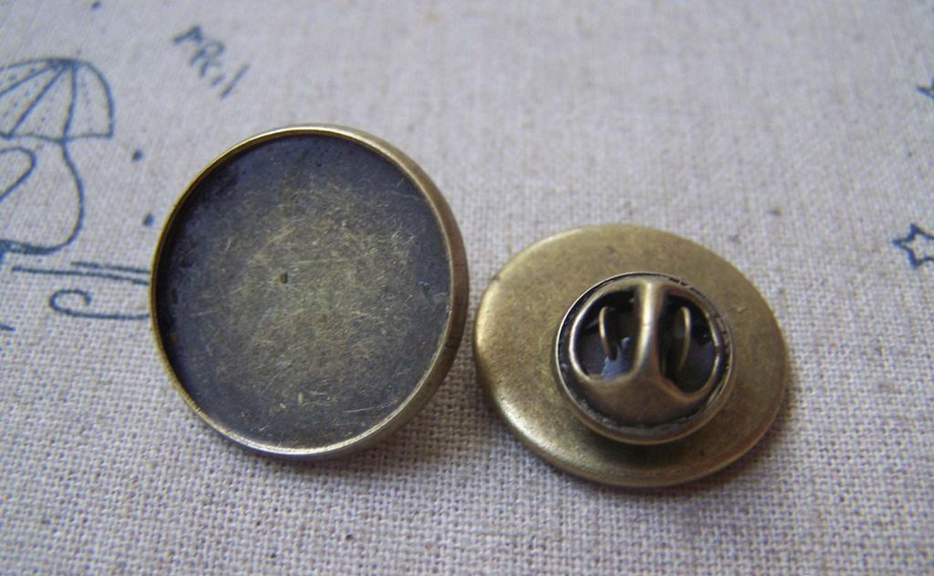 Accessories - Tie Tack Clutch Round Bronze Lapel Pin Brooch Blank Match 20mm Cabochon Set Of 10 A4928