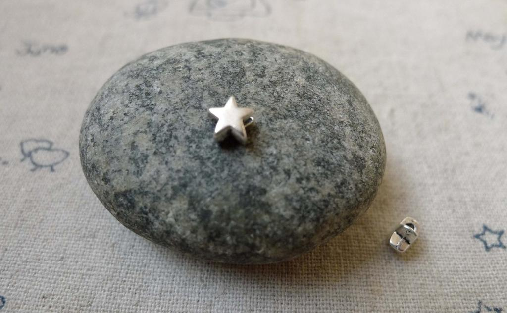 Accessories - Tiny Star Spacer Beads Antique Silver Charms 5x5mm Set Of 50 Pcs  A6109