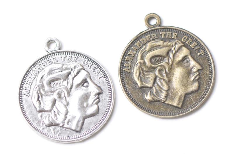 10 pcs Alexander The Great Coin Pendants Charms