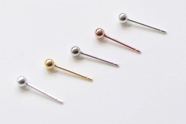 4 pcs (2 Pairs) 925 Sterling Silver Ball Earring Stud Post
