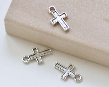 Antique Silver Cross Charms Pendants Double Sided Set of 50 A8422