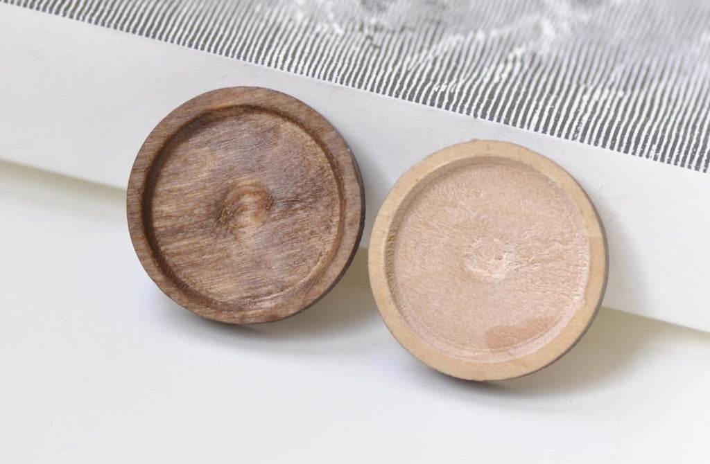 Round Wooden Pendant Tray Blank Setting 20mm Cabochon Set of 10