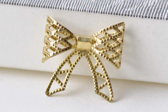 10 pcs Raw Brass Bowtie Knot Embellishment Stamping A8553