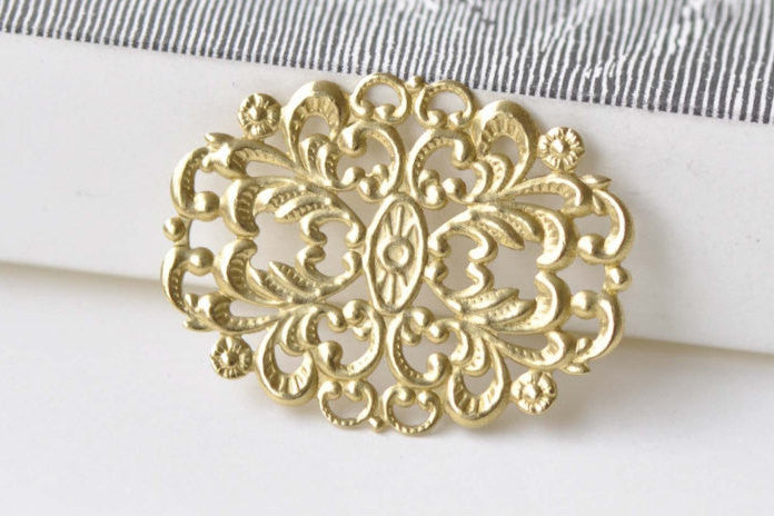 20 pcs Unplated Raw Brass Oval Flower Ring Embellishments  A8581