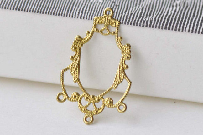 20 pcs Raw Brass Chandelier Earring Drops Embellishments A8586