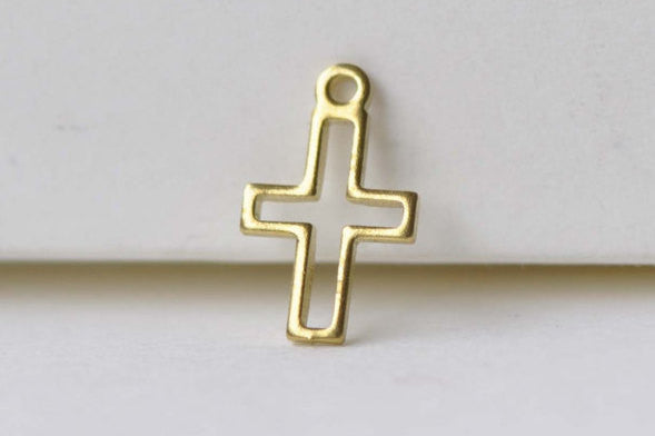 30 pcs Raw Brass Outlined Tiny Cross Charms Embellishments A8588