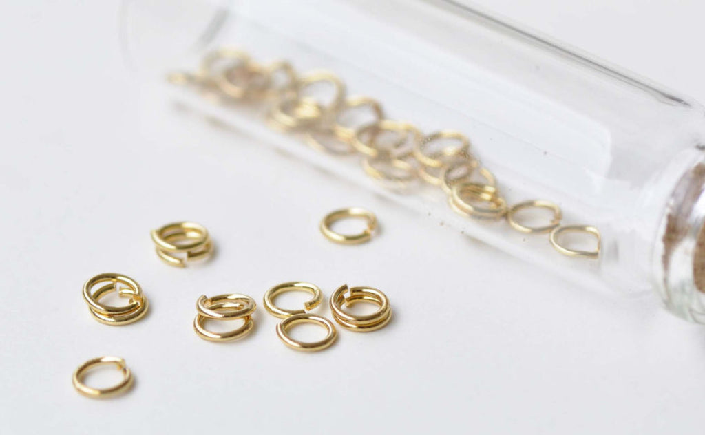 100 pcs Anti Tarnish 24K Gold Plated Brass Jump Rings 6mm 19G A8593