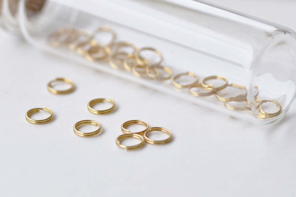 100 pcs Anti Tarnish 24K Gold Plated Brass Split Rings 6mm 25G A8594