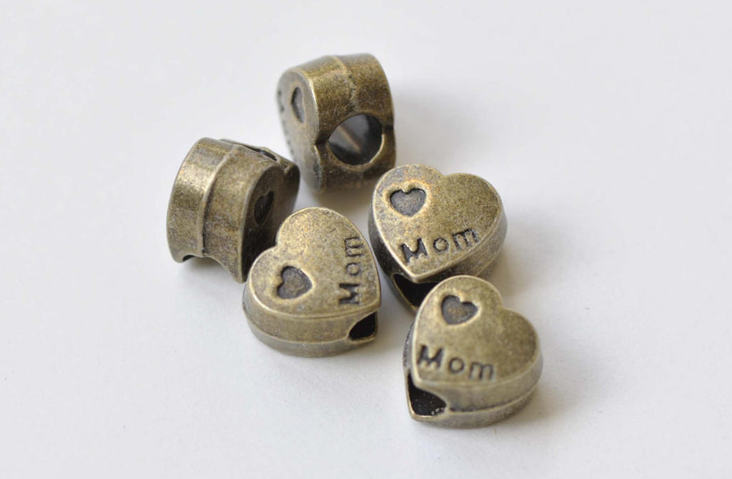 20 pcs Antique Bronze Large Hole Mom Heart Beads 10x12mm A8467