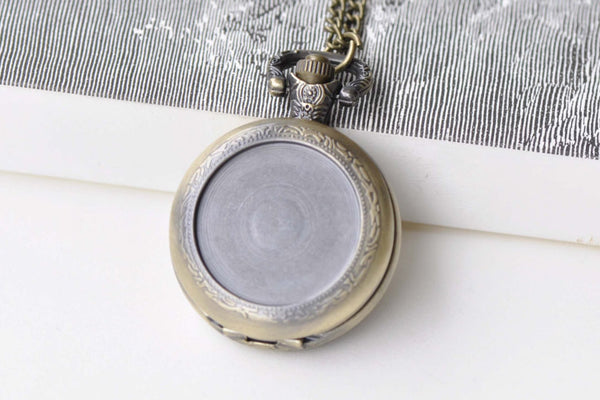 Pocket Watch - 1 PC Antique Bronze Bezel Pocket Watch Necklace 1 Inch Cabochon A8638