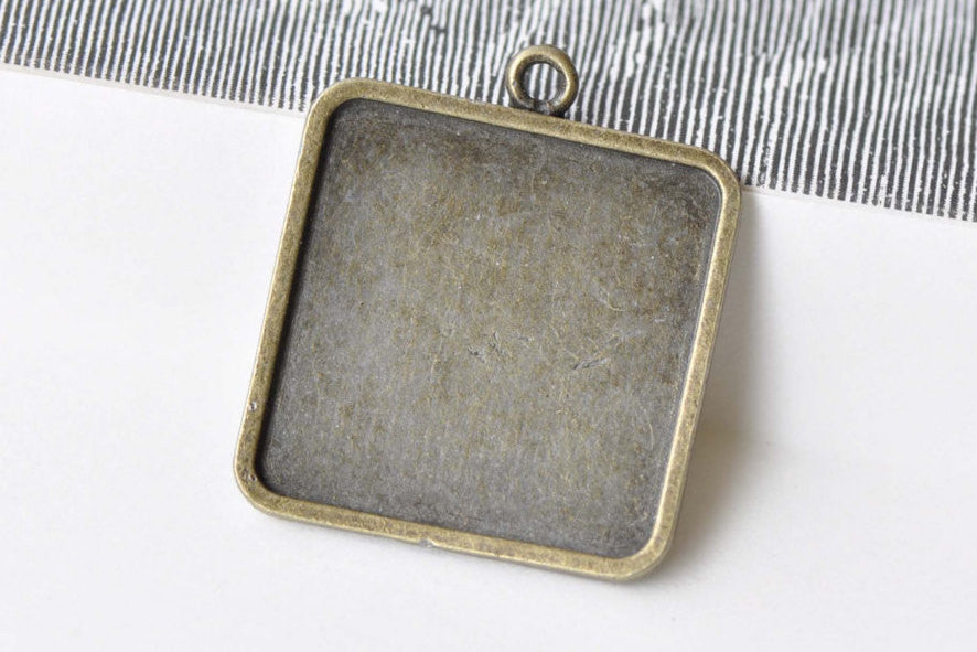10 pcs Antique Bronze Square Photo Cameo Pendant Tray 25mm A8661