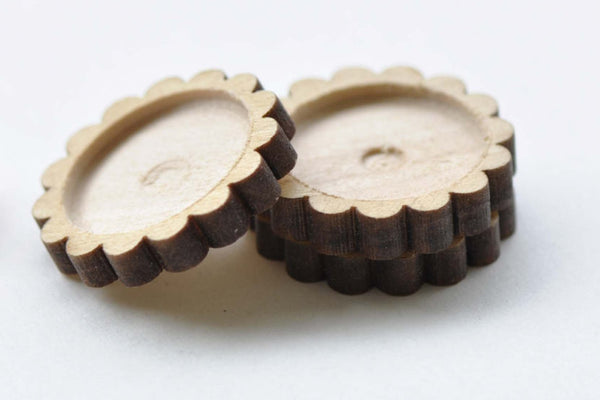 10 pcs Floral Wooden Pendant Tray Setting 20mm Cabochon A8664