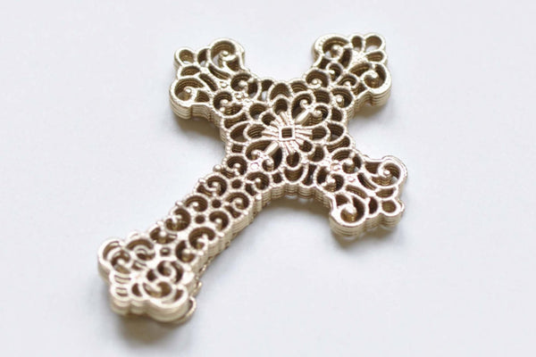 10 pcs Matte Gold Filigree Cross Charms Embellishments 37x52mm A8508
