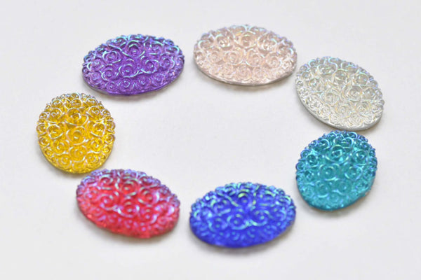 20 pcs Resin Oval Dome Flower Cabochon Mixed Color 18x25mm A8519