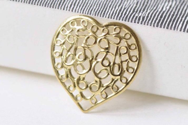 Raw Brass Heart Stamping Floral Embellishments 21mm Set of 20 A8526