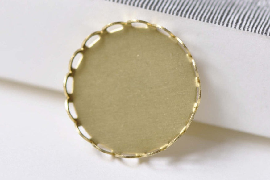 10 pcs Raw Brass Pendant Tray Blanks Match 20mm Cabochon A8527