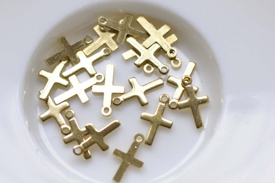50 pcs Raw Brass Tiny Plain Cross Charms Embellishments 6x10mm A8529