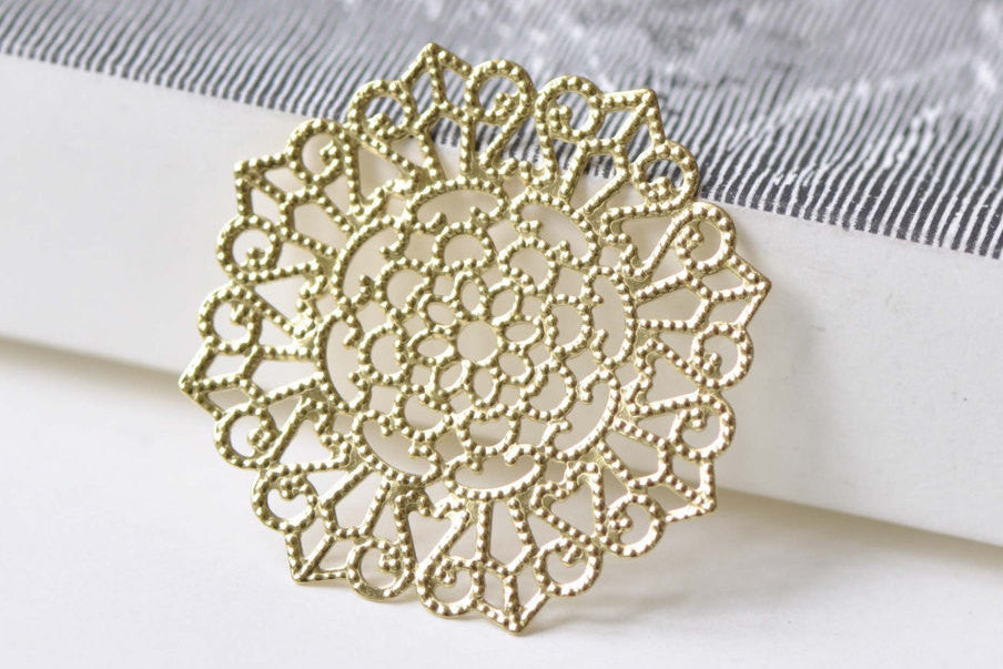 Raw Brass Filigree Flower Stamping Embellishments Set of 10 A8531