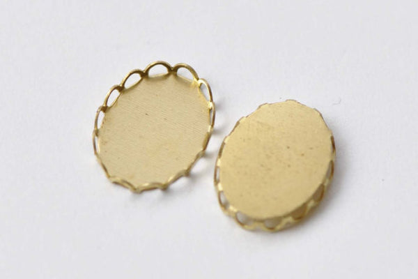 10 pcs Raw Brass Pendant Tray Base 10x14mm Cabochon A8675