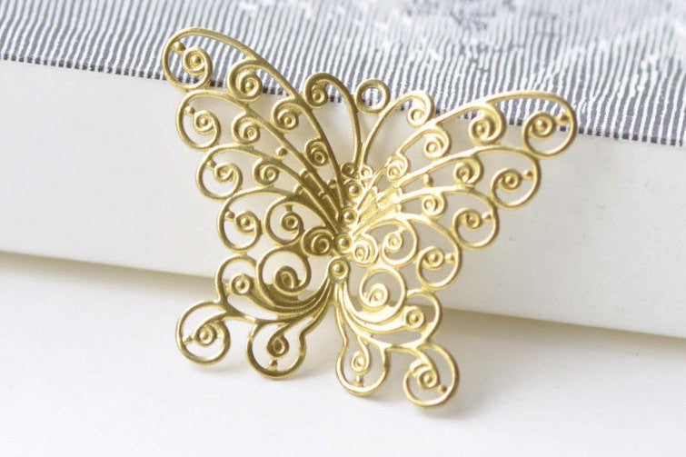 10 pcs Raw Brass Swirl Butterfly Charms Embellishments A8554