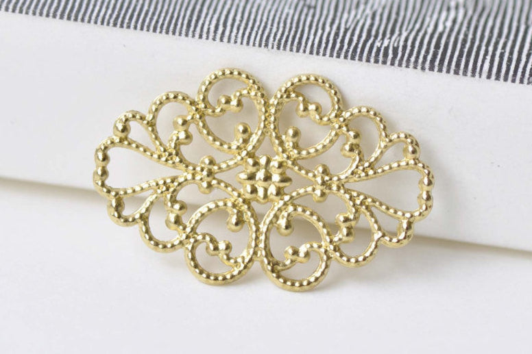 20 pcs Raw Brass Oval Flower Ring Embellishments A8572